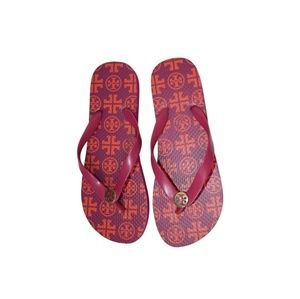 TORY BURCH Pink Logo Flip Flops Flats Sandals